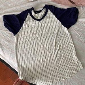 Brandy Melville Vertical Stripe Baseball T-Shirt